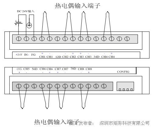 矩形科技 e8thm 8路k型热电偶输入plc