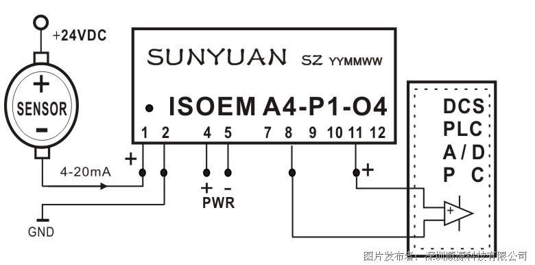 1       图5  四线制传感器信号i/i隔离放大后与plc连接典型应用图(is
