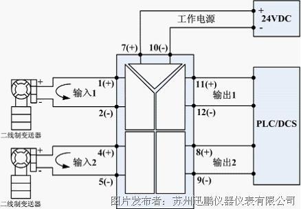 配电信号隔离器; 一入一出/一入二出/二入二出应用接线图(当某一输入