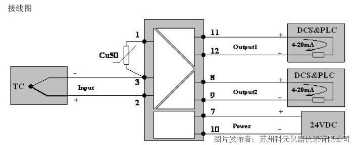 钨铼热电偶温度变送器的接线图