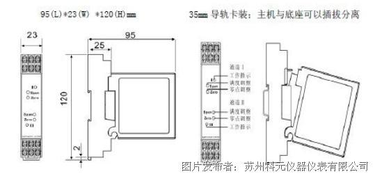 三、功能与特征 1、优良的温度特性和长期的工作稳定性; 2、结构紧凑,可高密安装; 3、DC24V电源,符合CE指令; 4、准确度高。 四、技术指标 执行标准:QB/441600 17 079-2001 输出负载:2K(电压输出),500(电流输出) 响应时间:350ms 辅助电源:DC24V, 80mA 精度:0.2% 工作环境:-10~50,20%RH~90%RH无凝露 储存环境:-40~70,20%RH~95%RH无凝露 安装方式:DIN35mm导轨安装 苏州科元仪器仪表有限公司 联系人:姚工 电