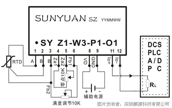 产品的校准 校准设备:精确到0.01欧的电阻箱一台,直流电源一台,4位半万用表一台。 校准步骤: 1、 将产品按照应用图接好线,或者将产品安装到已经设计好的线路板上。 2、 根据辅助电源的值,连接好电源;安装好调节电位器;输出接到万用表。 3、 根据输入的温度范围查分度表得出对应的电阻值范围Rlow~Rhigh。 4、 接通电源,开机15分钟。 5、 将电阻箱的阻值调到等于Rlow的值,调节零点电位器,使输出为零点的对应输出值(例如4mA)。 6、 将电阻箱的阻值调到等于Rhigh的值,调节幅值电位器,