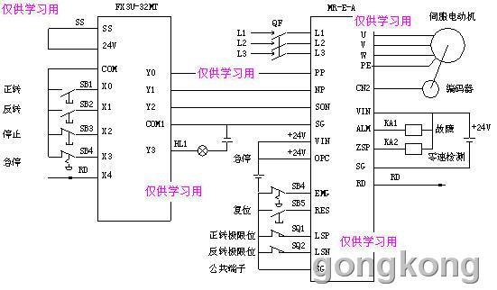 三菱伺服与三菱FX系列PLC的接线图实例