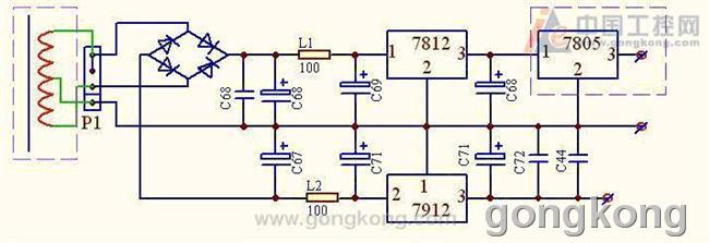 π型滤波器,如l1,l2是电感元件,该电路应没有错,如 12v输出正常,接