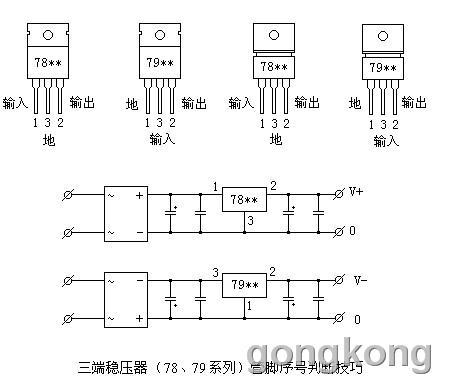 三端稳压器(78,79系列)管脚序号判断技巧