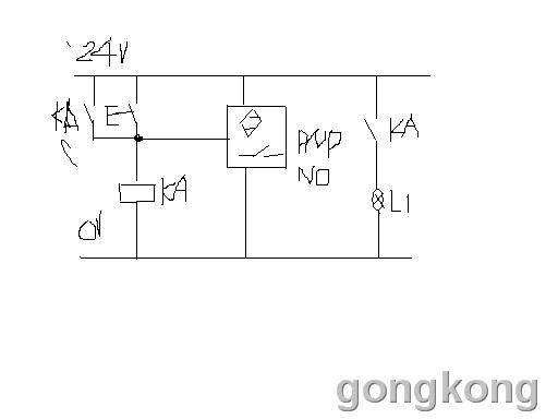 用一个中间继电器24v,按钮,传感器,双路控制信号