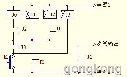 用时间继电器和中间继电器在注塑机上加1组吹气动作