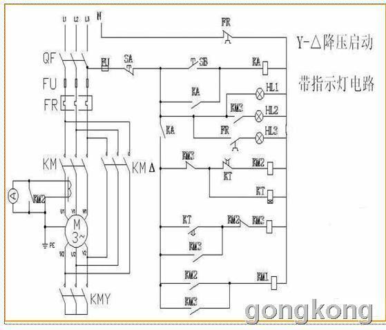 来电基础的:电动机星三角降压起动电路图-专业自动化