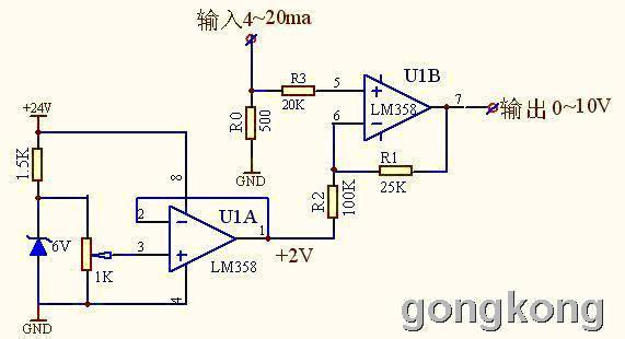 电路简单,只需1个lm358运放块,1只稳压管,1个微调电阻和几个电阻,元件