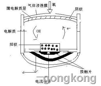 碱性液体燃料电池的结构和工作原理图