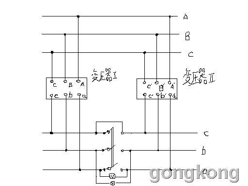 图1(两台变压器并联运行接线图)