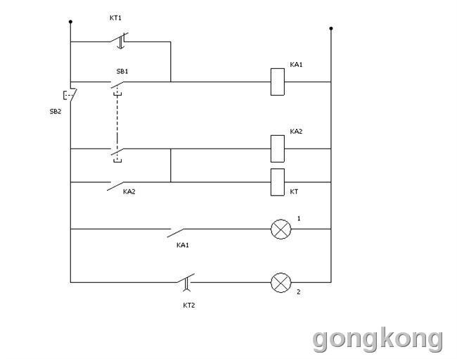 断电延时,kt2为通电延时闭合,断电瞬时断开,都是时间继电器的常备触头