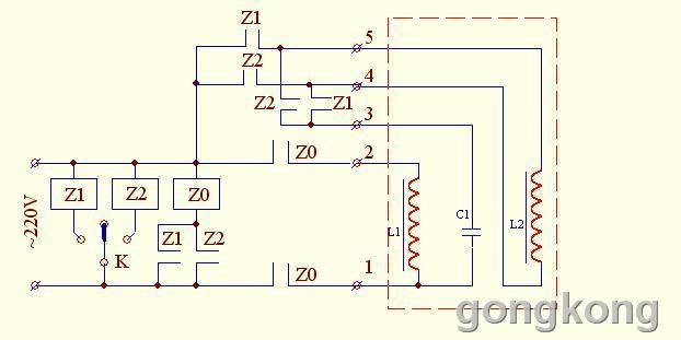 其红框内为电机绕组与电容,其L1为主绕组,L2为启动绕组,启动电容C1的一端与主绕组的一端接在一起,对外输出(1),主绕组的另一端对外输出(2),电容C1的另一端对外输出(3),启动绕组L2的二端对外输出(4)、(5)。3个继电器与5个接线头的连线见左侧图。 注:编号是随意编的,可能与原来编号不一样,此图是按原理画的,仅供参考。