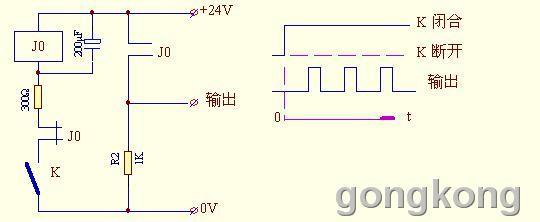动作原理:开关K 断开时,继电器处于断电状态,其常开触点断开,输出端电压=0V,电容C 的电压=0V。合上开关K,电路得电,由于电容C 的电压不能突变,仍保持0V状态,故此时24V电压全加在300欧电阻上,随着电阻电流对电容充电,使电容的电压由0逐渐增加,由于继电器J0 的线圈与电容C 并联,即继电器J0的线圈电压也由0逐渐增加,在继电器J0的线圈电压<吸合阀电压时,虽然线圈通有电流,但不能吸合,当继电器J0的线圈电压>吸合阀电压时,继电器吸合,其常开触点闭合,使输出端电压=24V,其常闭触